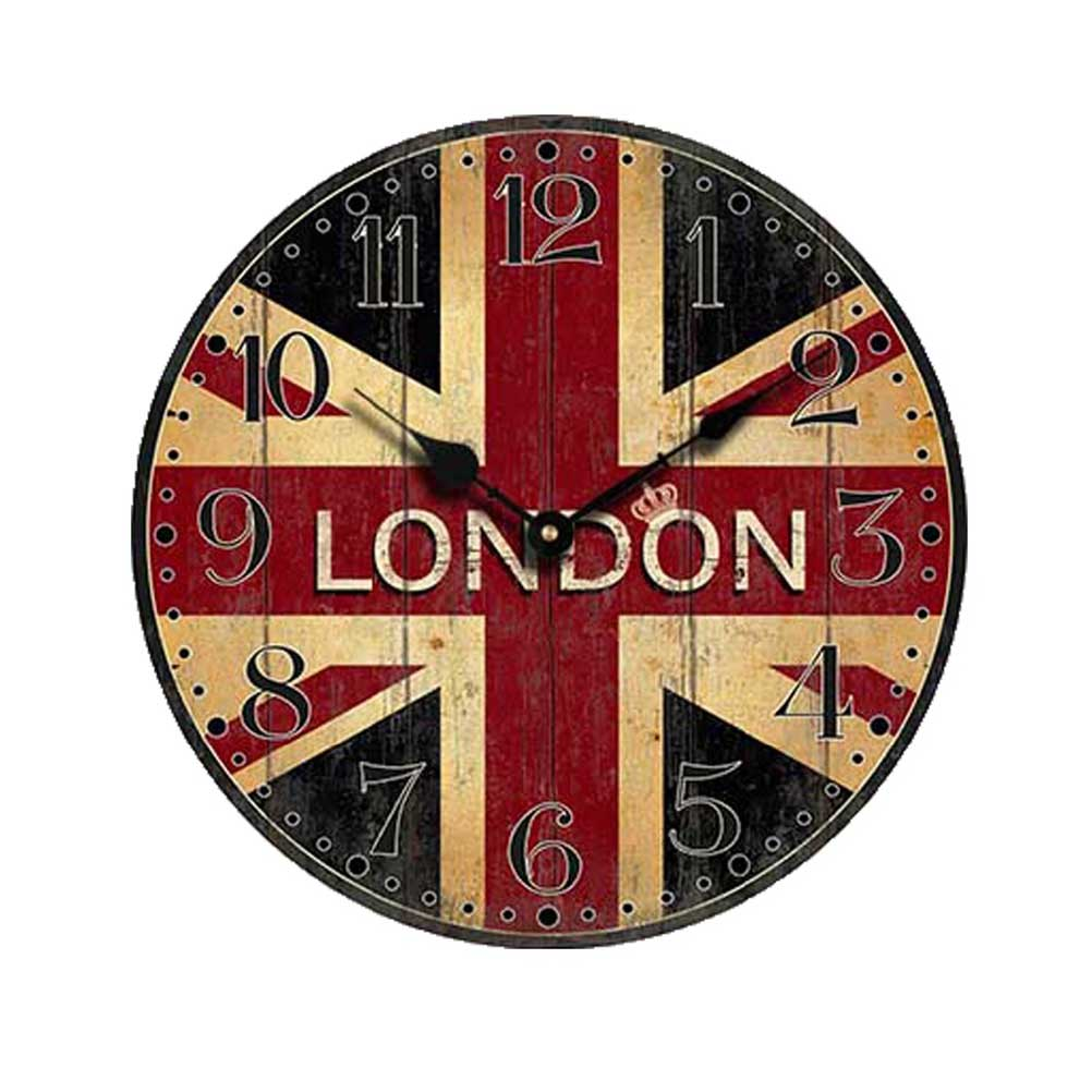 Vintage British flag Style Non Ticking Silent Wood Wall Clock with ...