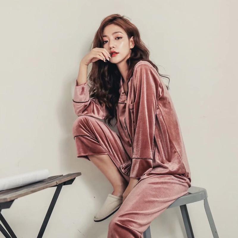 Autumn Velvet Long Sleeve Women Pajamas Sets Sexy Elegant Ladies Home Clothes 2019 Winter Warm Female Pajama Sleepwear Suits