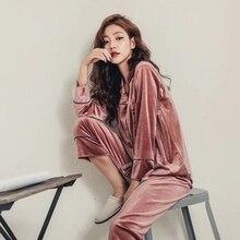 Women Pajama Set pajamas Deep Gold Velvet Sexy Homewear High Quality 2018 Autumn Winter Warm Pijama