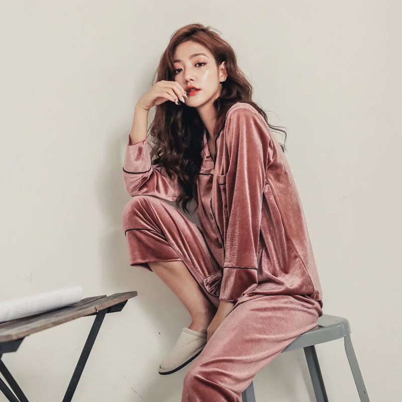 Women   Pajama     Set     pajamas   Deep Gold Velvet Sexy Homewear High Quality 2018 Autumn Winter Warm Pijama Mujer Elegant Sleepwear Suit