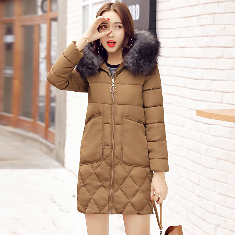 New 2017 Fashion Winter Parkas Thick Warm Long Slim Hooded Fur Coat Big Pocket Winter Cotton Padded Jacket Female Outwears 2017 winter new cotton coat women slim long hooded thick jacket female fashion warm big fur collar solid hem bifurcation parkas