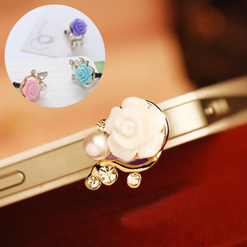 Marsnaska 2pc Earphone Time-limited Metal Dust Plug 3.5mm Ultra Xian Resin Flower Mobile Phone Dustproof Cell Accessories