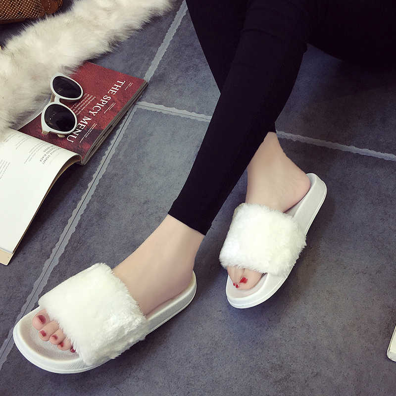 07d228a63e7f ... Plus size 36-45 fur sandals Unisex fur flipflops girls pink white  slippers men black