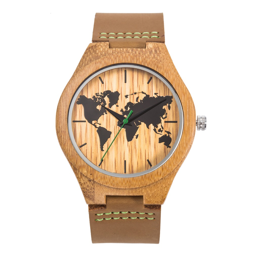 2018 Top luxury Brand Fashion Design Map Dial Bamboo Wooden WristWatches Men Natural Wood Watches for women With Leather Bands wooden watches men fashion natural wristwatch with bamboo gift box lovers luxury wood watches for men women best idea gifts
