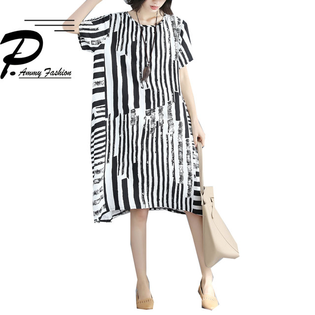 Women Lagenlook Short Sleeve Striped Straight Dress 2018 Plus size O- Neck Tunic  Dress Baggy Loose Vestidos 4ac2d07858a3