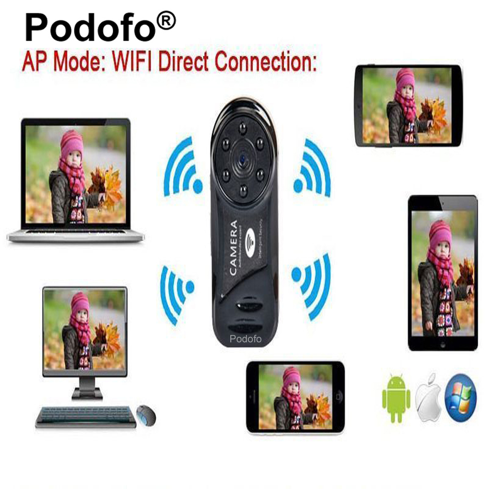 Podofo Wireless Mini Camera Wifi IP 720P HD Infrared Night Vision 6 LED IP Network WIFI Nanny Cam DVR Cam For Android Iphone