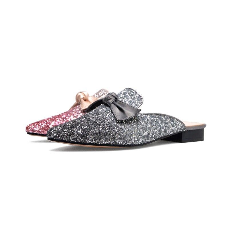 Appartements Bowknot Noeud Soirée Femelle Gray Mocassins Rose De pink 2018 Papillon Doux Glitter Bling Mules Chaussures Femmes SgYgpF