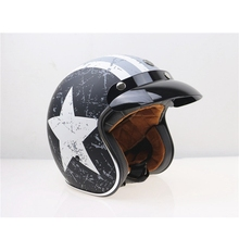 Free shipping 1pcs Motorcycle 3 4 Open Face Helmet Vintage Helmet Built in Flip up Visor