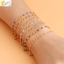 CSJA Infinity 8 Gold-color Bracelets & Bangles Stainless Steel Link Chain Delica Beads Statement Charms Bracelet for Womens S419(China)