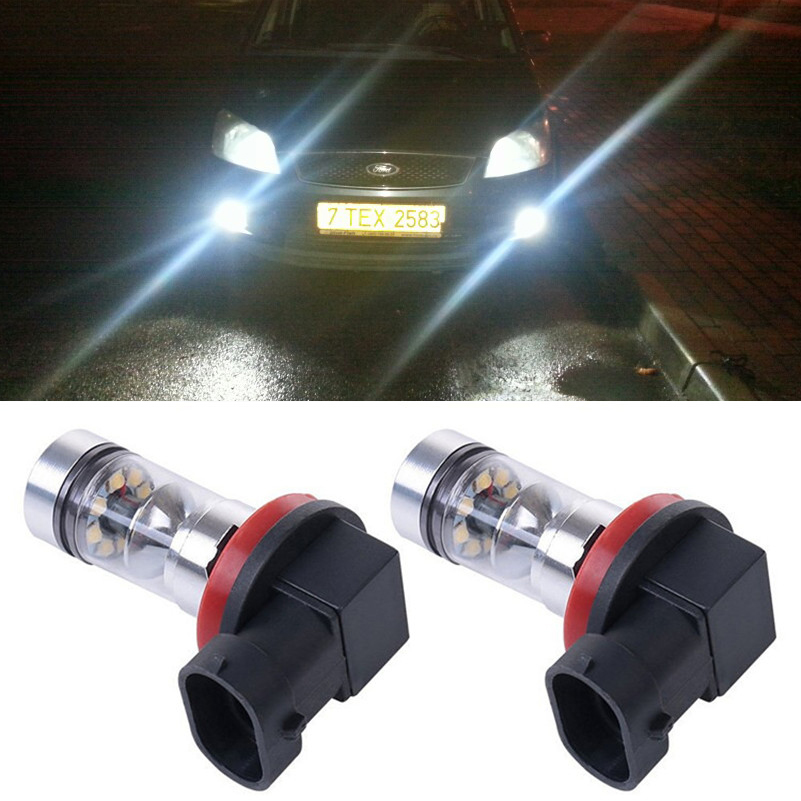 12V H8 H11 20 <font><b>LED</b></font> <font><b>100W</b></font> Car Projector Fog Driving Light <font><b>Bulb</b></font> White Headlight For Ford MONDEO MK3 MK4 C-MAX S-MAX FOCUS 01+ FUSION image