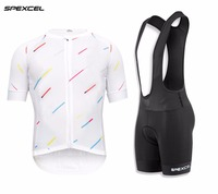 SPEXCEL 2018 White Meteor shower top quality Cycling jersey And Bib shorts lightweight cycling jerseys 4D gel pad summer bicycle