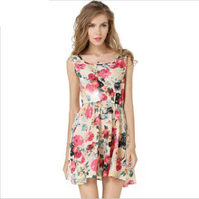 2016 spring summer new Plus Size Women casual Bohemian floral sleeveless vest printed beach chiffon dress vestidos