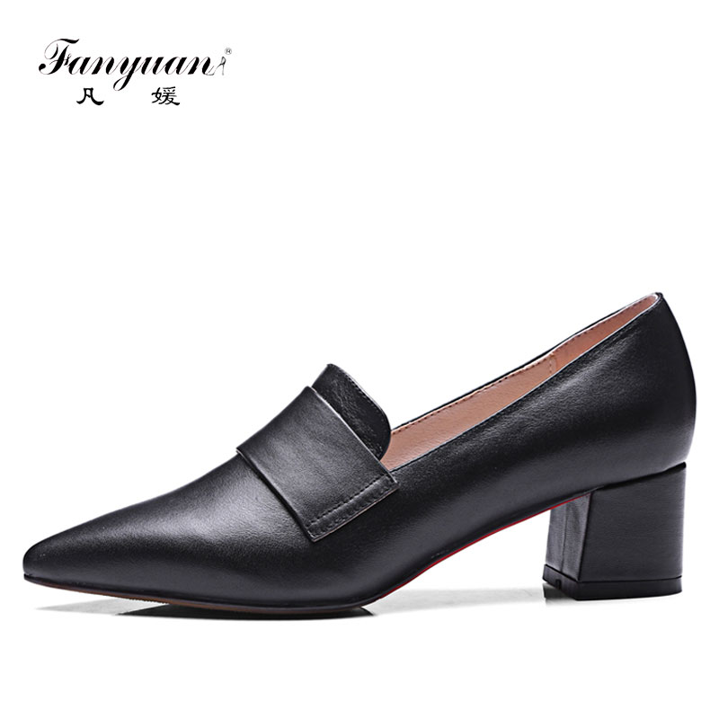 Fanyuan Cow Leather Woman Shoes Pumps Concise Slip-On Low Heel Office Ladies Work Shoes Pointed Toe Block Heels tacones mujer
