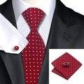 Мужские Галстуки Красный Белая Точка Галстук Ханки Запонки Набор 100% Жаккардовые шелковые Галстуки Для Мужчин Бизнес Свадьба Подарки для Мужчин SN-1018