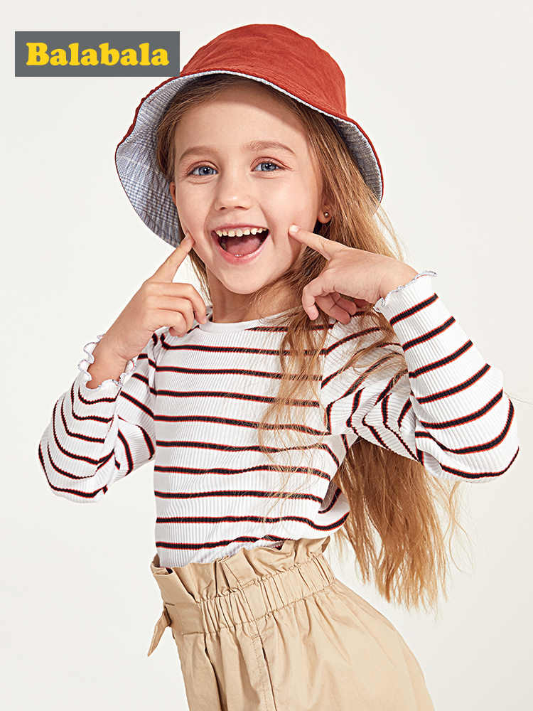 Balabala Kids Girls Long Sleeve Striped T-shirt Tops Children Toddler Girl Tops with Bow Tie at Collar Autumn Clothes Clothing