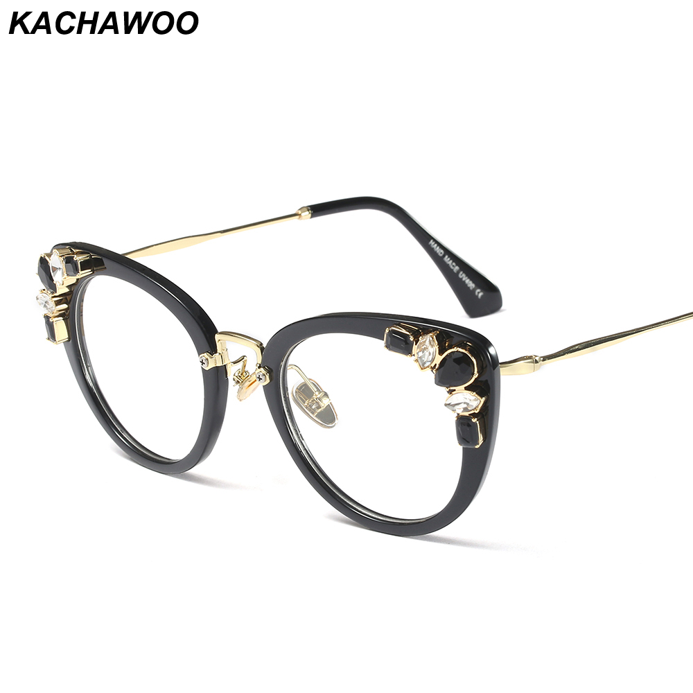 62aa92cb677a Kachawoo rhinestone eyeglasses ladies luxury transparent sexy cat eye  eyewear frames women decoration accessories