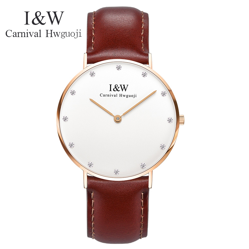 I&W Ultra-Thin 6MM Watch Women Simple Leather Strap Quartz Wristwatch With Diamond Ladies Waterproof Watches relogio feminino brand julius women watches ultra thin leather strap watch band analog display quartz wristwatch luxury watches relogio feminino
