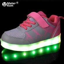 Boyutu 25 37 çocuk Sneakers Işık ile Parlayan Sneakers kanvas ayakkabılar Aydınlık Sneakers Erkek Kız Krasovki Arkadan Aydınlatmalı