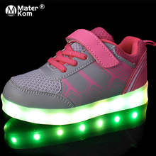 Size 25 37 Childrens Sneakers with Light Glowing Sneakers Canvas Shoes Luminous Sneakers for Boys Girls Krasovki with Backlight