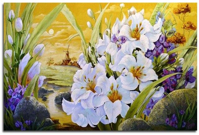 Poważne Diament piękny kwiat haft mozaika wzór dżetów Diament haft FX75