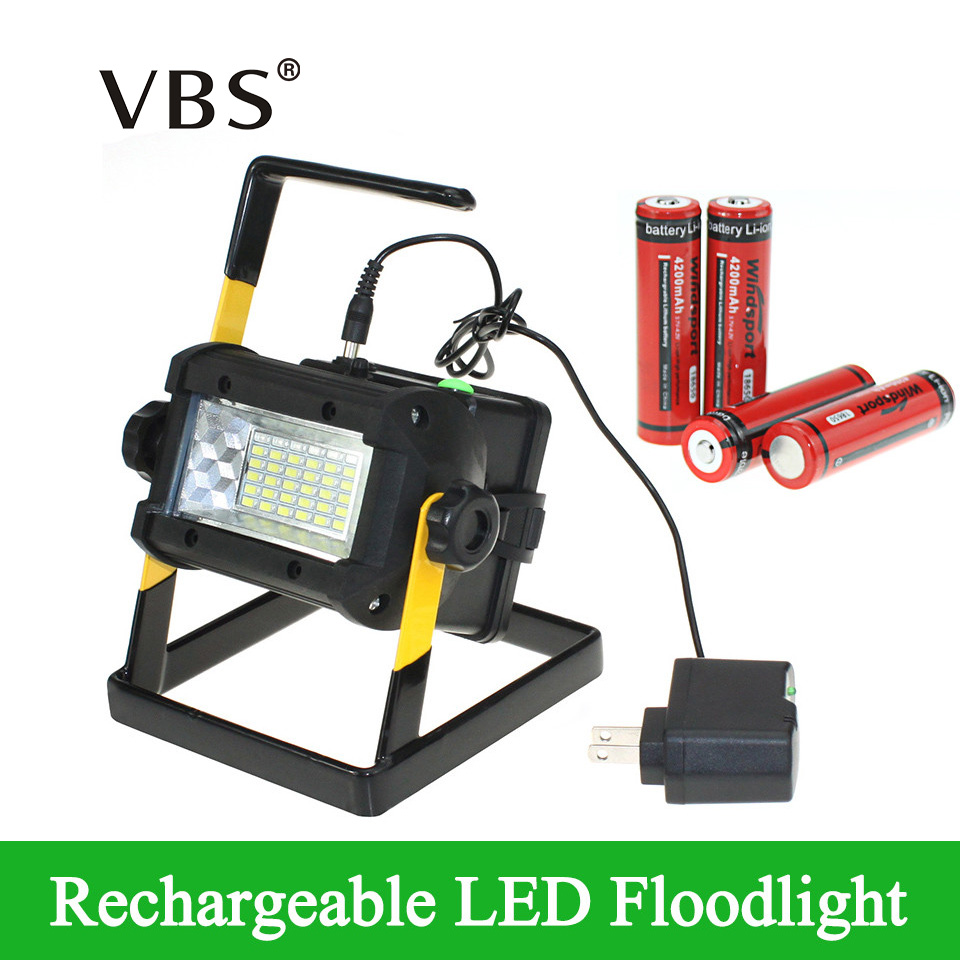 Brightness Waterproof IP65 36LEDS LED Floodlight Portable SpotLights Rechargeable Lamp Include Charger and 4 18650 Battery