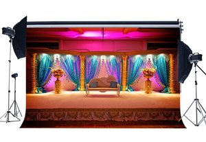 Image 1 - Luxurious Stage Backdrop Interior School Show Backdrops Fancy Shining Curtain White Chair Shabby Carpet Background