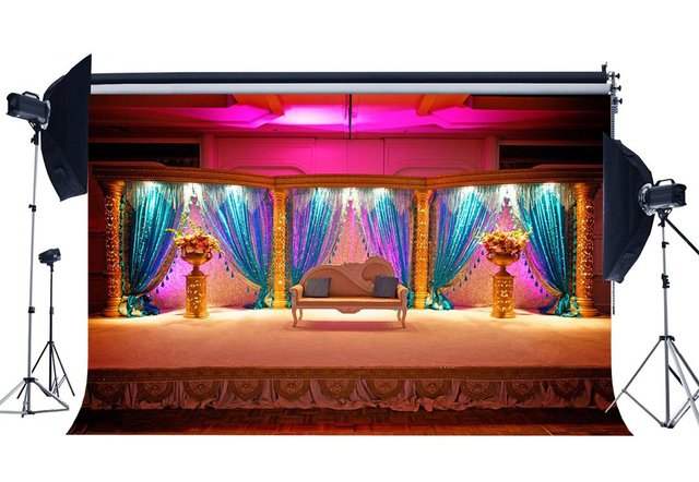 Luxurious Stage Backdrop Interior School Show Backdrops Fancy Shining Curtain White Chair Shabby Carpet Background