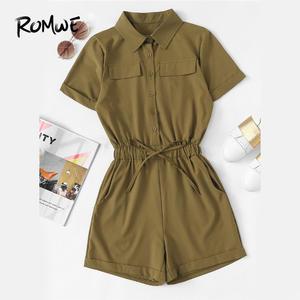 ce8e905b15f ROMWE Pocket Playsuit Summer Women Casual Up Sleeve Romper