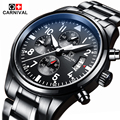 Carnival Luxury Brand Waterproof 30M Sport Men Watches  Super Luminous Quartz Military Chronograph Watch Black Steel Clock relog