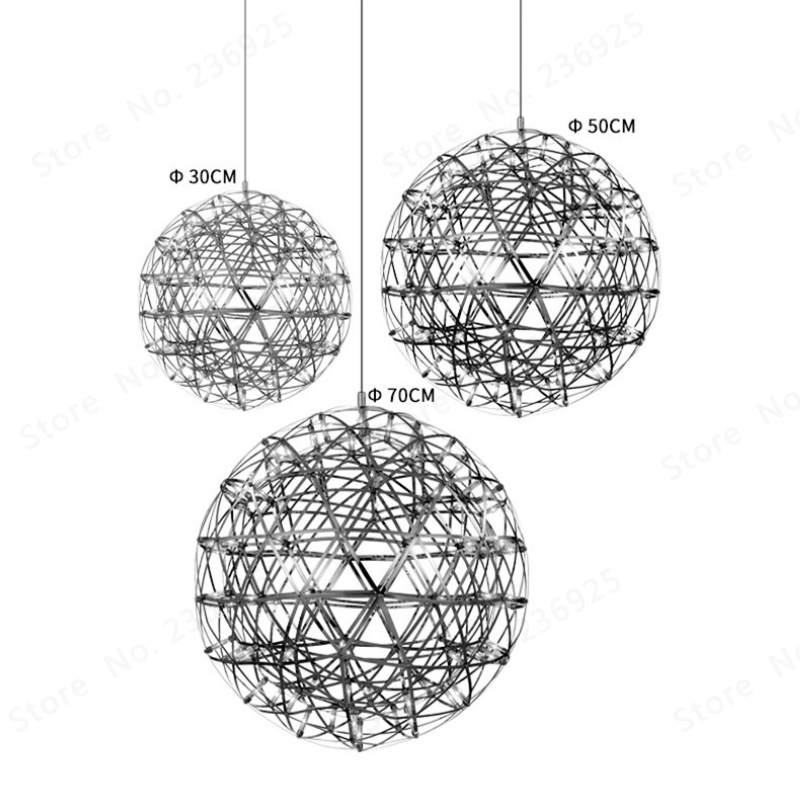 Image 2 - GZMJ Brief Spark Globe LED Pendant Lights Art Deco Firework Ball Stainless Steel Hanging Lamp Loft Light Fixtures for Home Decor-in Pendant Lights from Lights & Lighting