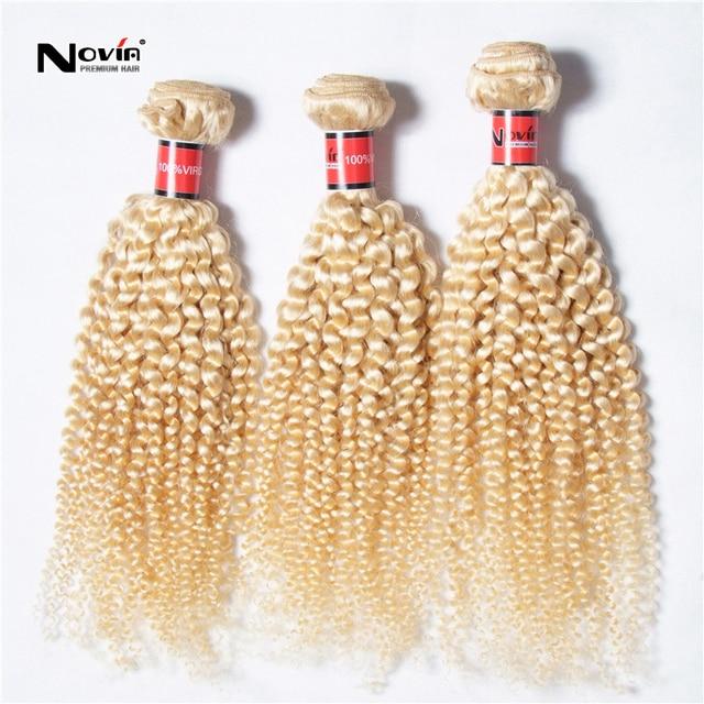 613 mais leve loira tecer cabelo brasileiro loira Kinky Jerry cabelo encaracolado 3 Pcs mel loira extensões de cabelo brasileiro
