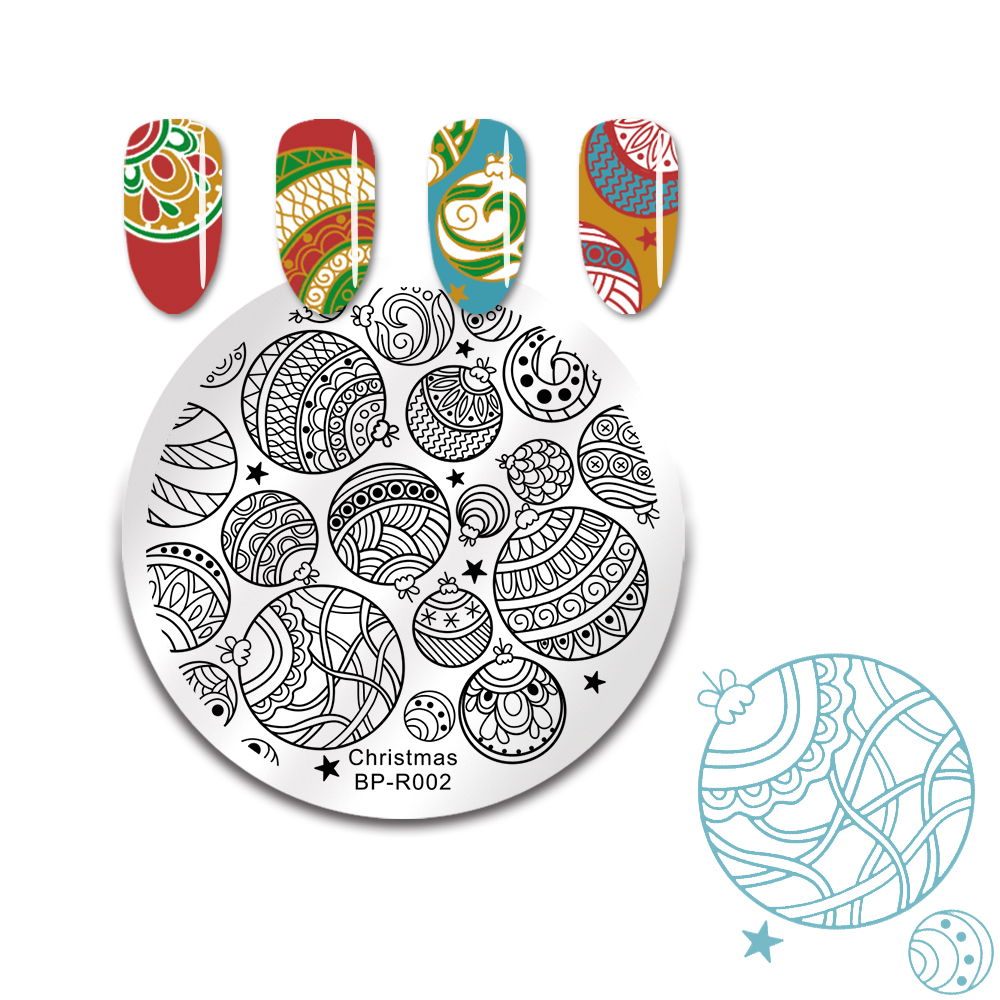 Image 4 - BORN PRETTY Christmas Snow Nail Stamping Plate  Balls Deer Round Template Nail Art Stamp Plate-in Nail Art Templates from Beauty & Health