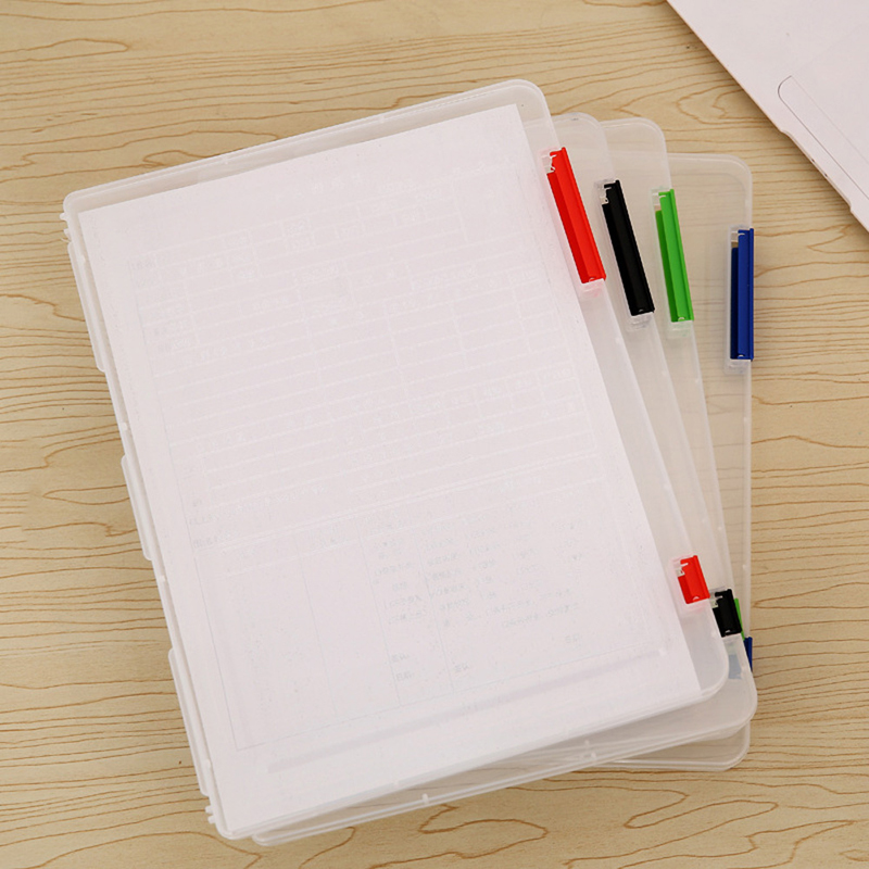 A4 Portable Folder File Box Transparent Storage Box Document Paper Filling Clear Case File Plastic simple plastic 5 section index band folder document file storage organizer filling stationery a4 size expanding wallet 4 colors