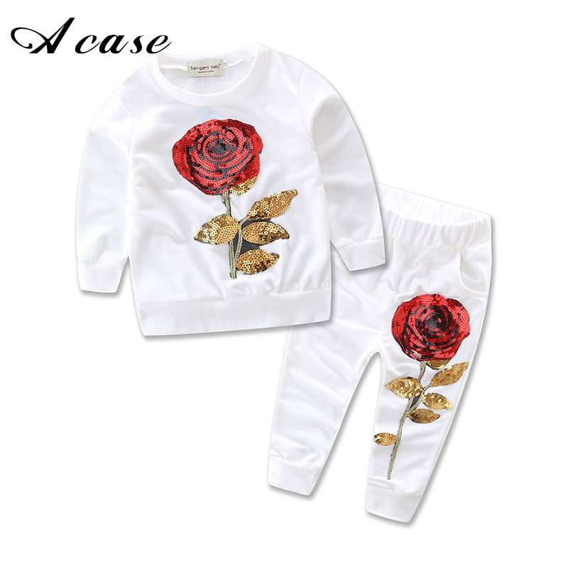 Girls Clothing Sets 2018 Spring Autumn Long Sleeve Tops Pants Outfits Rose Embroidered Sequin 2 Pcs Sets Kids Girl Clothes Suits girl off shoulder tops short sleeve denim pants jeans headbands 3pcs outfits set clothing toddler girls kids clothes sets