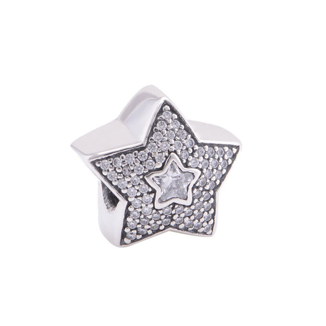Winter Wish Star Crystal Charms DIY Jewelry Making for Women Fashion 925 Sterling Silver Jewelry Fit Pan Brand Charm Bracelets