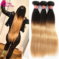 Peruvian Virgin Hair Straight Omber 3 Bundles Sassy Girl Hair Human Hair Extensions Blonde Brown Dark Wine Red Hair Bundles