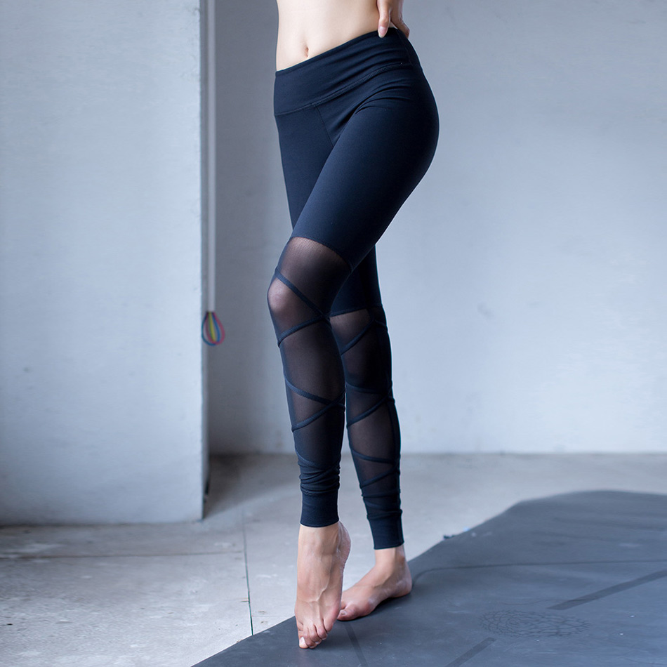 a65630156558bc 2017 New White&Black Mesh Bandage Yoga Leggings for Women Workout Tights  Ballet infinity Turnout Legging for Dance Fitness Pants-in Yoga Pants from  Sports ...