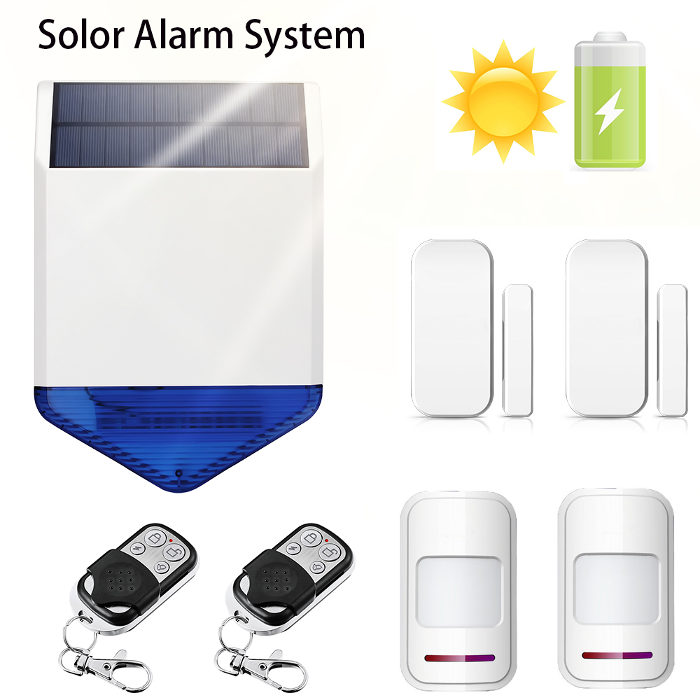 Solar Panel LED Flashing Wireless Strobe Siren Voice Prompt Alarm System Wireless door sensors Home Security PIR Motion Detector