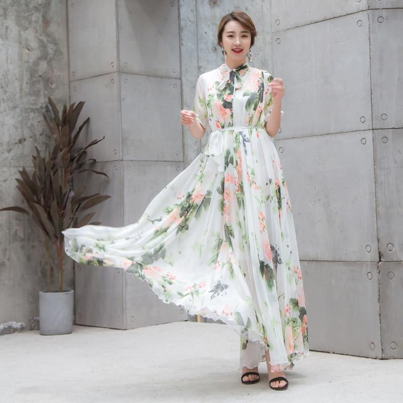 Boho piste Maxi robe grande taille femmes manches courtes noeud col Vintage imprimé Floral mousseline de soie fête vacances longue robe-in Robes from Mode Femme et Accessoires    1