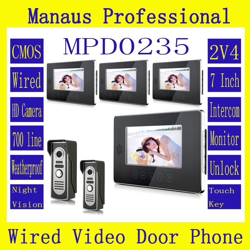 High Quality 7 Inch Screen Keypad Display Video Intercom System D235b Wired Magnetic Lock Two To Four Video Doorphone Device Kit