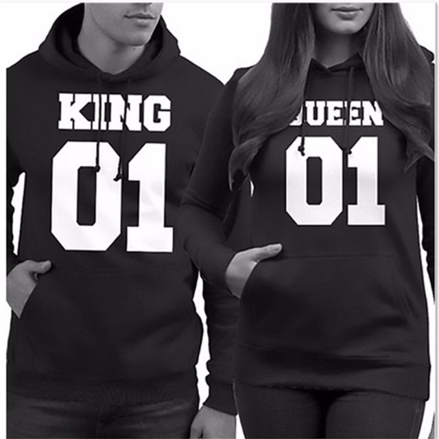 Plus Size S-3XL Autumn Men Women Lovers KING&QUEEN Letter Print Loose Hooded Sweater T-Shirt Couple Shirt Casual Tops Black Tees