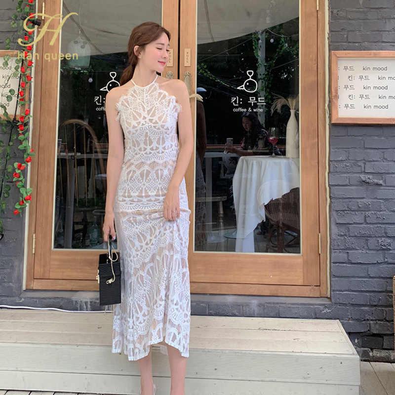 H Han reine licou sans bretelles 2019 été dentelle blanche longue robe nouvelle mode Sexy sans manches Vintage Club robes de soirée
