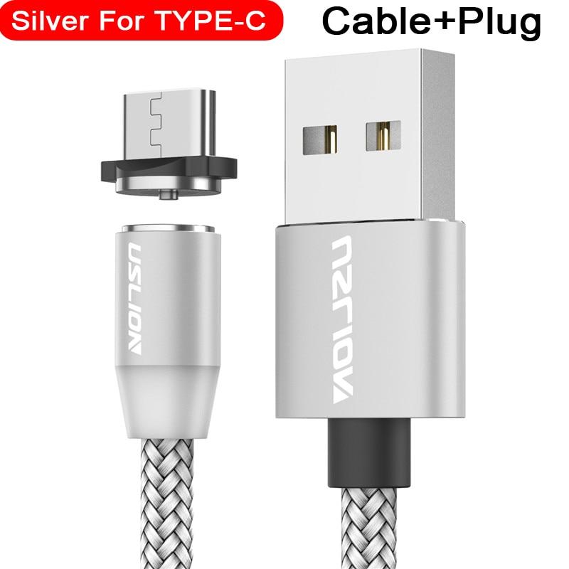 Магнитный usb-кабель USLION для быстрой зарядки, кабель USB type C, Магнитный зарядный кабель Micro usb для зарядки и передачи данных, кабель USB для мобильного телефона - Цвет: For Type C Silver