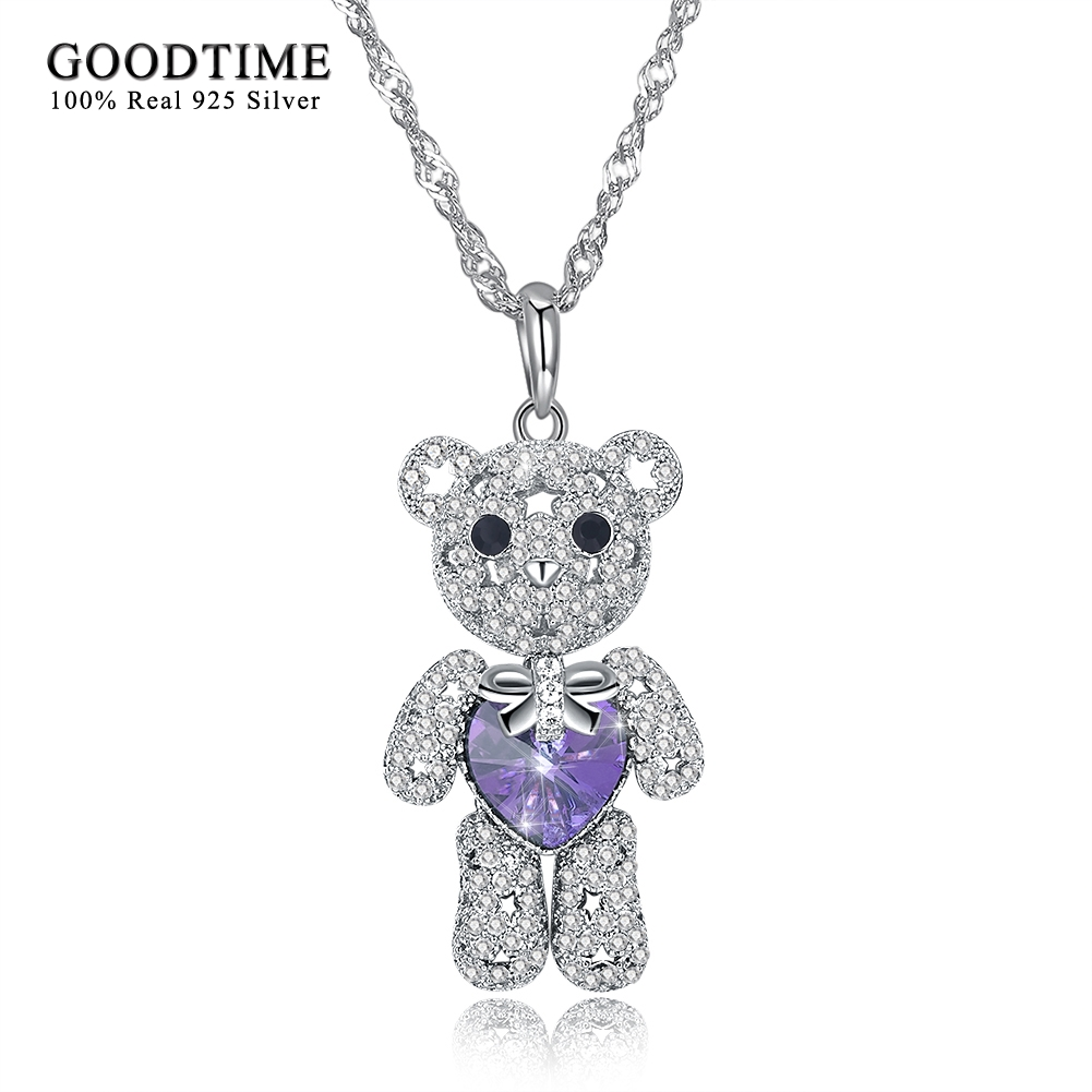 High Quanlity Crystal Necklaces For Women Girls Lovely Cute Bear Shaped 925 Sterling Silver Pendant Necklaces Chic Style Jewelry