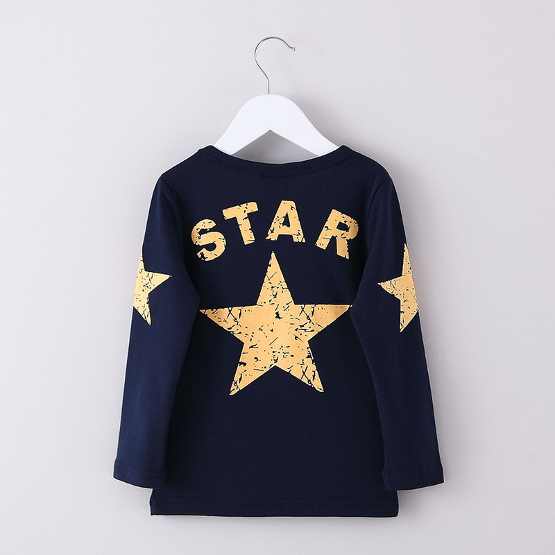 Boy Long Sleeve T-Shirt Children's Cotton Pentagram Print Top Kids/Baby Spring/Autumn Clothes(China)