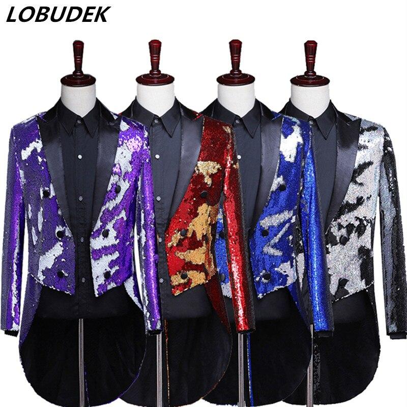 4 couleurs paillettes retournées veste Swallowtail magicien chef chanteur scène Costume bal discothèque Bar hôte queues manteau vêtements d'extérieur