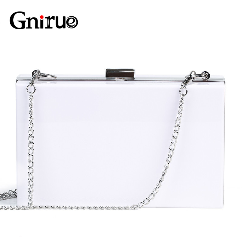 2019 New  Fashion White Acrylic Women Wallet Clutch Purses Box Woman Messenger Bags Wedding Party Evening Chain Clutches Handbag