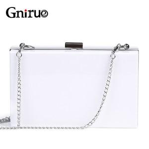 Image 1 - 2020 nouvelle mode blanc acrylique femmes portefeuille pochette sacs à main boîte femme sacs de messager de mariage soirée chaîne embrayages sac à main