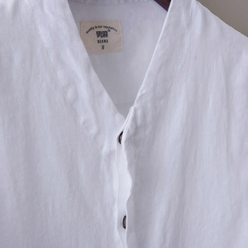 b4bbd8f5d6 ... High Quality Mens White Linen Shirts Collapsible Sleeve Shirt V-neck  Slim Fit Solid Color ...