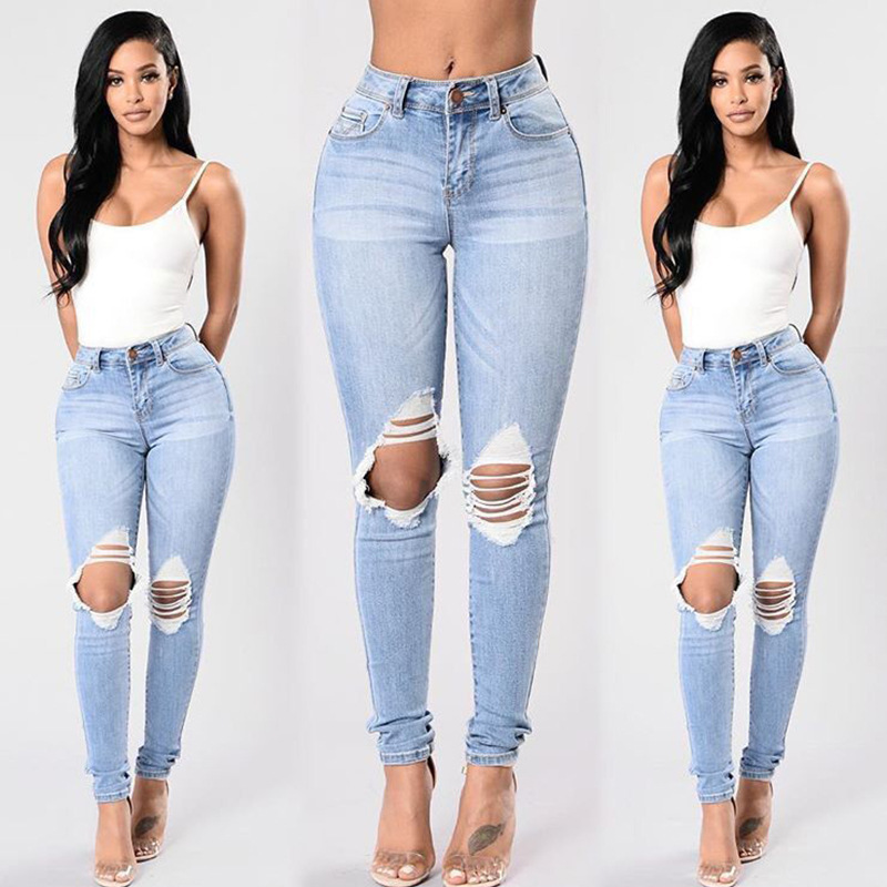 KL925 Women skinny push up jeans mid waist stylish vintage knee hole ripped jeans for women